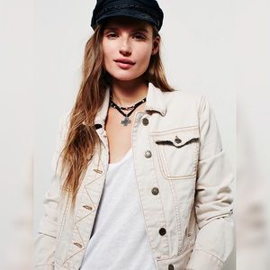 Free People Fitted Denim Natural Off-White Jacket